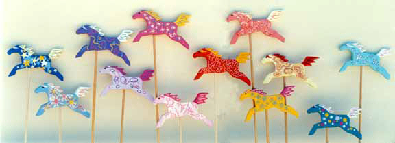 """Painted Ponies ""  -  Wooden garden art by Diana Johnson"